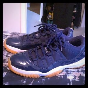 Low top Jordan 11's- Navy Blue,White- Gum bottoms